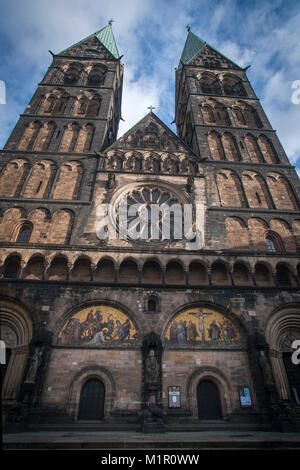St. Petri Dom, Bremen Cathedral, on the Market Square in Bremen, Germany. - Stock Photo