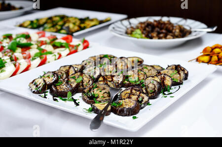 Party buffet or banquet scene with italian antipasti. Grilled eggplant vegetable, tomato and mozzarella and various - Stock Photo