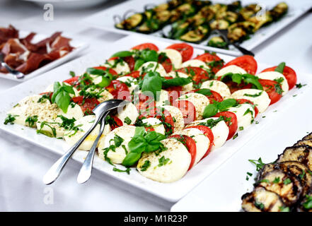 Antipasti buffet or banquet with tomato and mozzarella plate and fresh basil leaves. Wedding banquet or party buffet. - Stock Photo