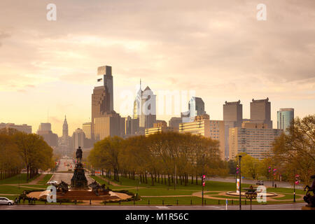 Philadelphia, Pennsylvania, USA - Downtown skyline with City Hall on a rainy day. - Stock Photo