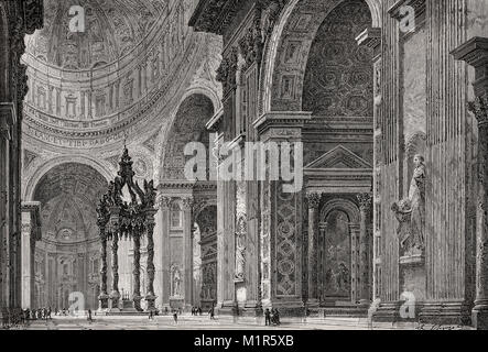 Interior view of the Papal Basilica of St. Peter, Vatican City, Rome, Italy, 19th Century - Stock Photo