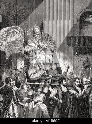 Pope Pius IX, Vatican, Rome, Italy, 19th Century - Stock Photo