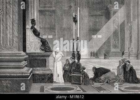 Pope Pius IX at bronze statue of Saint Peter, St. Peter's Basilica, Vatican, Rome, Italy, 19th Century - Stock Photo