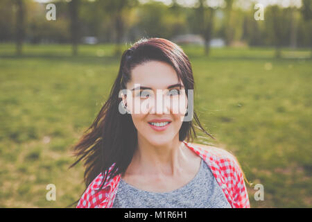 hipster girl smiling - Stock Photo