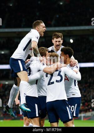 London, UK. 31st Jan, 2018. Players of Tottenham Hotspur celebrate after scoring during the English Premier League - Stock Photo