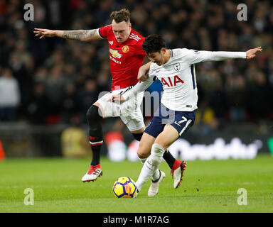 London, UK. 31st Jan, 2018. Heung-Min Son (R) of Tottenham Hotspur vies for the ball during the English Premier - Stock Photo
