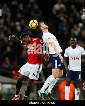 London, UK. 31st Jan, 2018. Paul Pogba (L) of Manchester United heads for the ball during the English Premier League - Stock Photo
