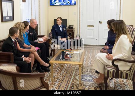 U.S First Lady Melania Trump, right, hosts guests before the start of President Donald Trump's first State of the - Stock Photo
