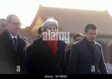 (180201) -- BEIJING, Feb. 1, 2018 (Xinhua) -- British Prime Minister Theresa May (C) and her husband Philip May - Stock Photo