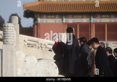 (180201) -- BEIJING, Feb. 1, 2018 (Xinhua) -- British Prime Minister Theresa May visits the Palace Museum, or the - Stock Photo