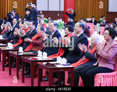 (180201) -- BEIJING, Feb. 1, 2018 (Xinhua) -- Yu Zhengsheng, chairman of the National Committee of the Chinese People's - Stock Photo