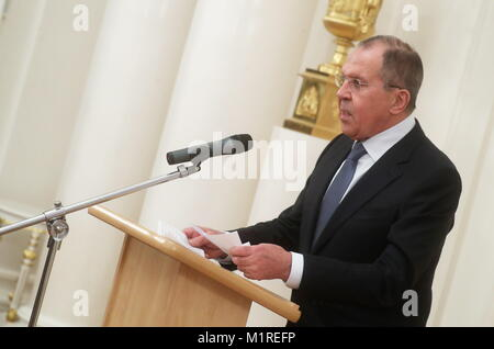Moscow, Russia. 01st Feb, 2018. MOSCOW, RUSSIA - FEBRUARY 1, 2018: Russia's Minister for Foreign Affairs Sergei - Stock Photo
