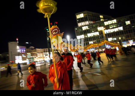Berlin, Germany. 1st Feb, 2018. Dragondance at the Potsdamer Platz. The chinese new year 2018 is celebrated earlier - Stock Photo