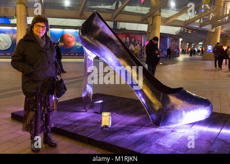 Greenwich Peninsula, London, UK, 1st Feb 2018.  The artist, Kalliopi Lemos, poses with her work. Inaugural public - Stock Photo
