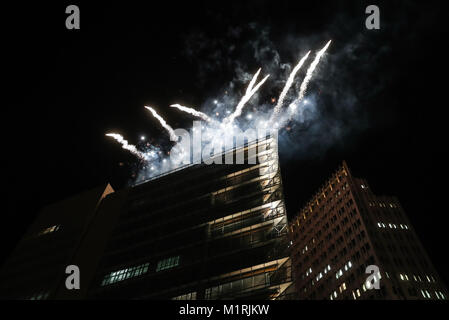 Berlin, Germany. 1st Feb, 2018. Fireworks are seen during a series of cultural celebrations 'Happy Chinese New Year' - Stock Photo