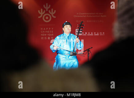 Berlin, Germany. 1st Feb, 2018. A musician performs during a series of cultural celebrations 'Happy Chinese New - Stock Photo