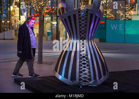Greenwich Peninsula, London, UK, 1st Feb 2018.  People interact with the artwork. Inaugural public placement of - Stock Photo