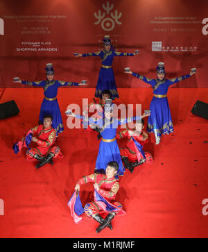 Berlin, Germany. 1st Feb, 2018. Dancers perform during a series of cultural celebrations 'Happy Chinese New Year' - Stock Photo