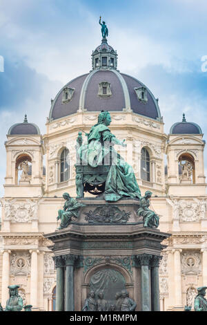 Statue of Maria Theresa sited in the centre of the museum district in Maria Theresienplatz, Vienna, Austria. - Stock Photo
