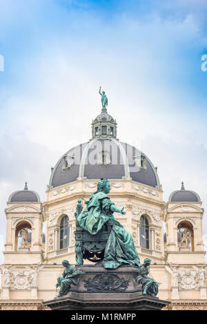 Vienna Museum Quarter, Statue of Maria Theresa sited in the centre of the museum district in Maria Theresienplatz, - Stock Photo