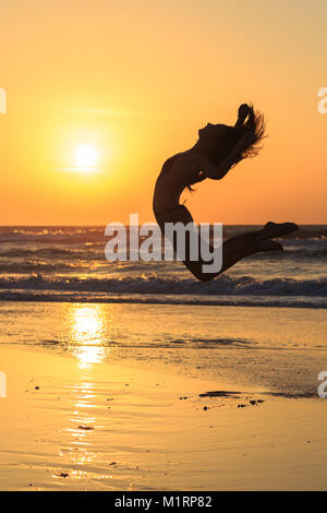 dancing girls silhouette - Stock Photo