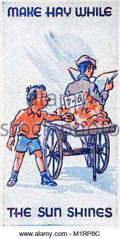 Make Hay while the Sun Shines proverb illustration 1938 - Stock Photo