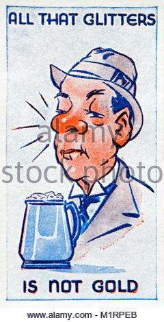 All that Glitters is not Gold proverb illustration 1938 - Stock Photo