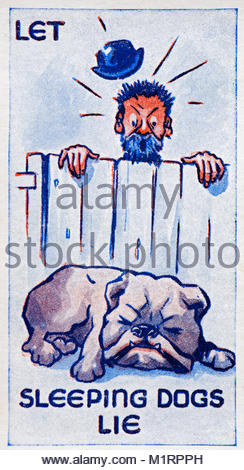 Let Sleeping Dogs Lie proverb illustration 1938 - Stock Photo