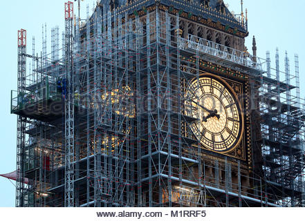 File photo dated 26/10/17 of scaffolding erected around the Elizabeth Tower, also known as Big Ben, as MPs have - Stock Photo