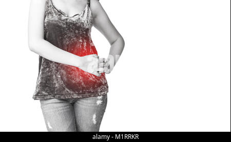 Asian woman with stomach pain on white background Stock