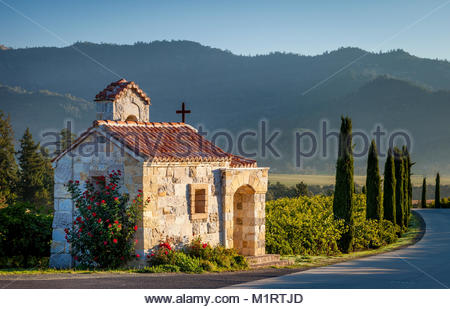 Prayer chapel at Castello di Amorosa vineyards in Napa Valley near Calistoga, California, USA - Stock Photo