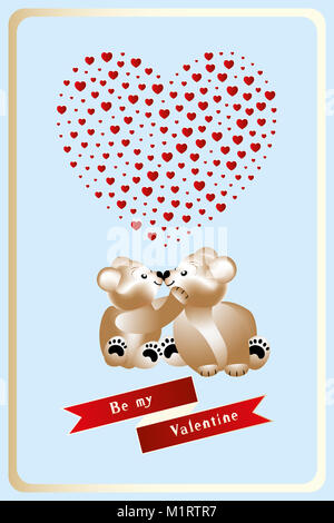 Illustration for Valentines Day with two cuddling teddies in love, heart with hearts inside and banner with words, - Stock Photo