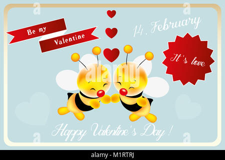 be my valentine little bee card for valentines day with hand drawn smiling bees