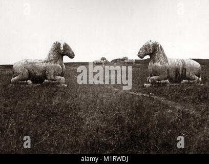 c.1880s China - stone animals on the route to the Ming tombs, Nanjing Nanking - Stock Photo