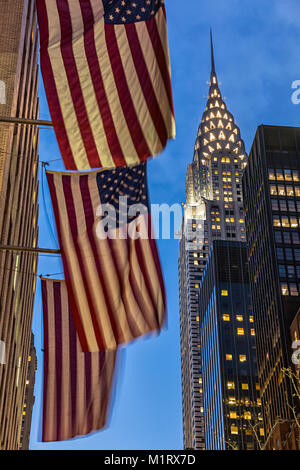 Chrysler building and American flags New York City - Stock Photo