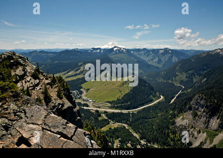 WASHINGTON- Snoqualmie Pass ski areas and Interstate 90 with Mount Rainier to the south from Guye Peak in the Mount - Stock Photo