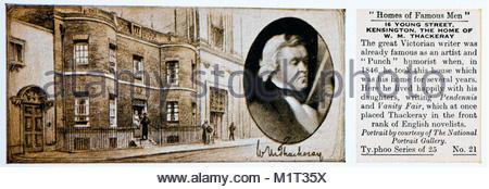Homes of Famous Men - William Thackeray 1811 – 1863 - Stock Photo