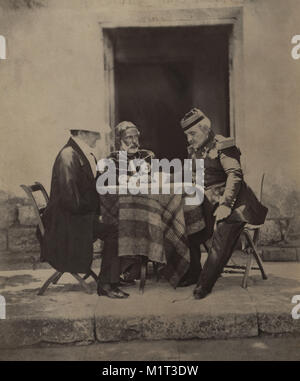 FitzRoy James Henry Somerset, 1st Baron Raglan, Omar Pacha and Aimable-Jean-Jacques Pélissier, Council of War at - Stock Photo