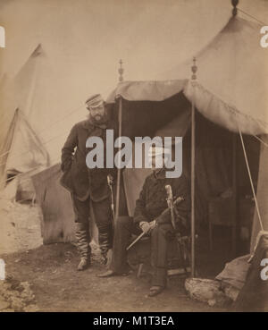 British Lieutenant General Sir John Campbell, full-length Portrait Seated inside Tent, and Captain Gustavus Hume, - Stock Photo