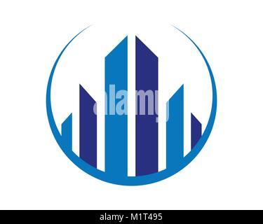 Abstract City Living Realty Symbol Vector Graphic Logo Design - Stock Photo