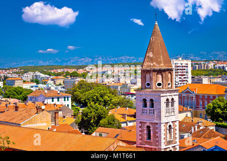City of Zadar landmarks and cityscape view, Adriatic coastline in Dalmatia region of Croatia - Stock Photo