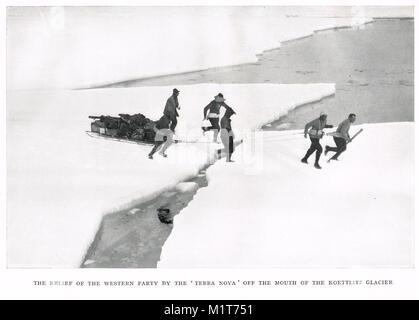 Second Western Party, rescued from ice by HMS Terra Nova, 18 February 1912.  The last expedition of Robert Falcon - Stock Photo
