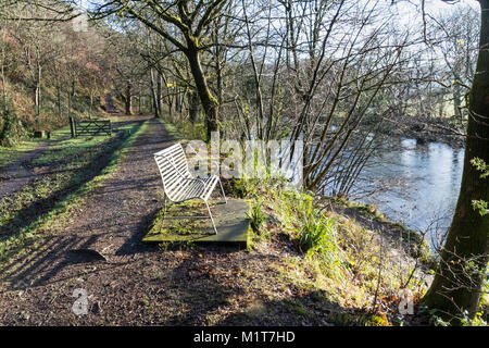 'Welcome Rest & Torridge View' - Autumn View Along Rolle Road, Site of the Victorian Rolle Canal with Metal Bench. - Stock Photo