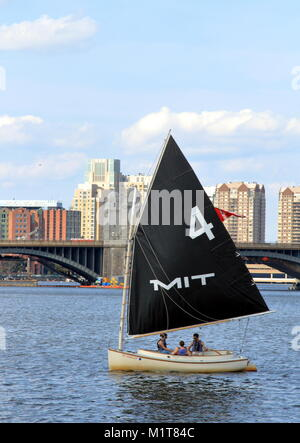 Boston, Massachusetts - August 16, 2017. MIT Sailing boat on Charles River in Boston, Massachusetts - Stock Photo