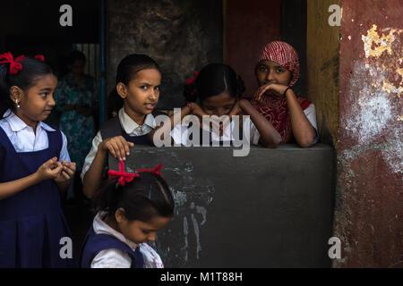Mumbai, India-November 6, 2017: Group of students in a school in rural areas of Mumbai. - Stock Photo