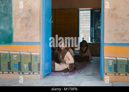 Mumbai, India-November 6, 2017: Group of students in a school in rural areas of Mumbai. - Stock Photo