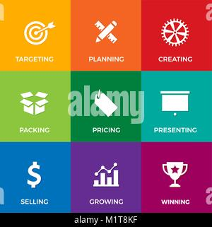 Vector set of white flat icons on business and marketing theme: like planning, selling, presenting and growing - Stock Photo