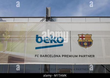 FC Barcelona and Beco sign - Stock Photo