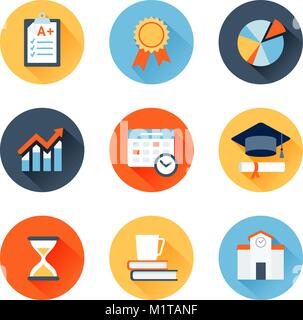 Vector set of flat icons education, exam, graduation and quality assurance - Stock Photo