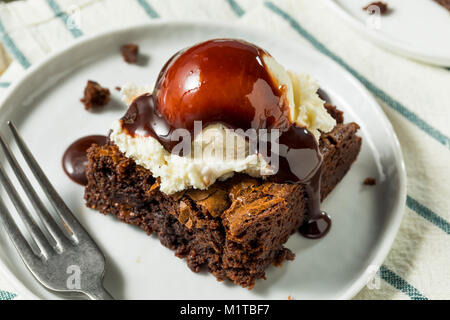 Double Dark Chocolate Brownies with Ice Cream - Stock Photo